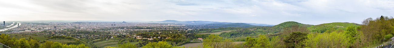Panorama of vienna with the suburbs and river danube Stock Image