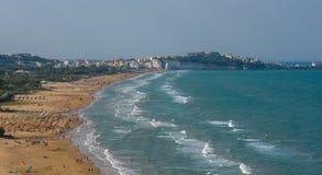 Panorama of Vieste beach, Gargano natural park, Puglia, Italy Stock Photos