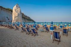 Panorama of Vieste beach, Gargano park, Puglia, Italy Stock Photo