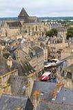 Panorama- viev Dinan för gammal stad Royaltyfria Foton