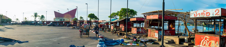 Panorama view of abandoned Koh loy island market effected by renovation of the bridge Royalty Free Stock Photo
