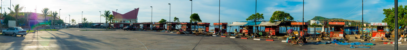 Panorama view of abandoned Koh loy island market effected by renovation of the bridge Stock Photography