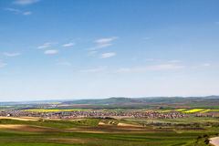 Panorama. View from above, with yellow rape seeds fields Stock Images