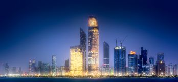 Panorama view of Abu Dhabi Skyline at sunset, UAE Stock Images