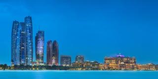 Panorama view of Abu Dhabi Skyline at sunset, UAE royalty free stock photo