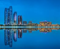 Panorama view of Abu Dhabi Skyline at sunset, UAE royalty free stock photos
