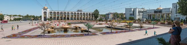 Panorama view of Ala Too Square, a popular tourist destination in Bishkek, the capital city of Kyrgyzstan royalty free stock image