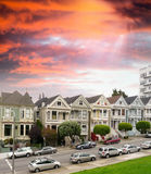 Panorama view of Alamo Square at sunset. During twilight time Royalty Free Stock Image