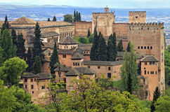 Panorama view of Alhambra palace as seen from Generalife, Granada, Andalusia Royalty Free Stock Image