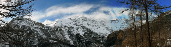 panorama view of alpine mountains in italy Stock Photo