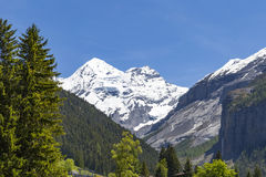 Panorama view of the Alps and Bluemlisalp on the hiking path near Kandersteg on Bernese Oberland in Switzerland Royalty Free Stock Photography