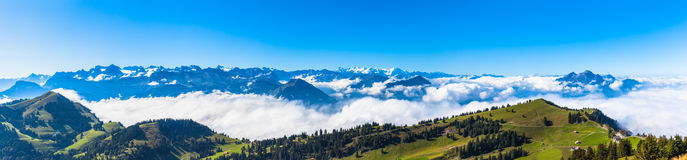 Panorama view of the alps on op of Rigi Royalty Free Stock Photo