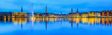 Panorama view of Alster Lake in Hamburg, Germany royalty free stock photo