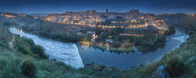 Panorama view of Toledo and Tagus River, Spain royalty free stock images