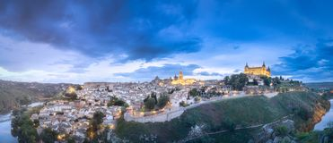 Panorama view of Toledo and Tagus River, Spain Stock Image