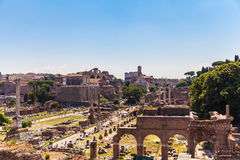 Panorama view of the ancient ruins in rome Royalty Free Stock Image