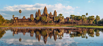 Panorama view of Angkor Wat temple. Siem Reap, Cambodia. Ancient Khmer architecture. Panorama view of Angkor Wat temple at sunset. Siem Reap, Cambodia Stock Photography