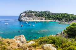 Panorama view for Anthony Quinn sea bay Stock Image