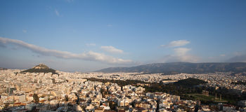 Panorama view of Athens from Acropolis hill. Temple of Olympian Zeus and Arch of Hadrian in the center Royalty Free Stock Photos