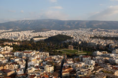 Panorama view of Athens from Acropolis hill. Temple of Olympian Zeus and Arch of Hadrian in the center Stock Photo