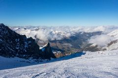 Panorama view of Austrian ski region of Hintertux Glacier in the region of Tyrol with a view to Ziller valley. Zillertal stock images