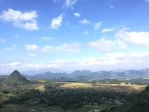 Panorama view of Ba Khan valley from Thung Khe mountain pass Stock Image