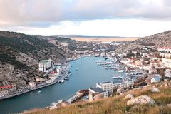 Panorama view of Balaklava. Black sea, Crimea. stock photography