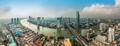 Panorama view of Bangkok city with Chaopraya river Royalty Free Stock Photography