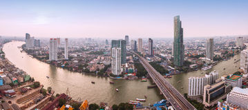 Panorama view of Bangkok city with Chaopraya river Stock Photo