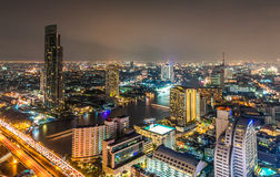 Panorama view of Bangkok city with Chaopraya river Royalty Free Stock Photos