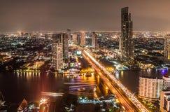 Panorama view of Bangkok city with Chaopraya river Royalty Free Stock Image