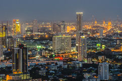 Panorama view of Bangkok city scape at night time Stock Photography