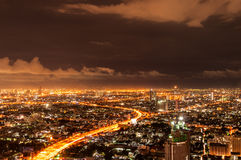 Panorama view of Bangkok city scape at nighttime. Thailand Royalty Free Stock Photo