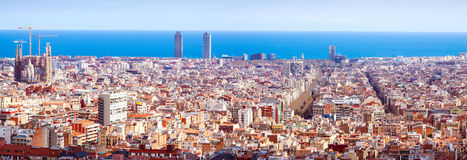 Panorama view of Barcelona  in sunny day. Spain Stock Photography