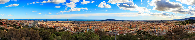 Panorama view of Barcelona from Park Guell in sunny day in winter. High resolution image. Spain Royalty Free Stock Image