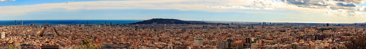 Panorama view of Barcelona from Park Guell in sunny day in winter. High resolution image. Spain Stock Photos