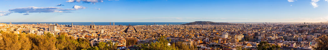 Panorama view of Barcelona from Park Guell in sunny day in winter. High resolution image. Spain Stock Photo