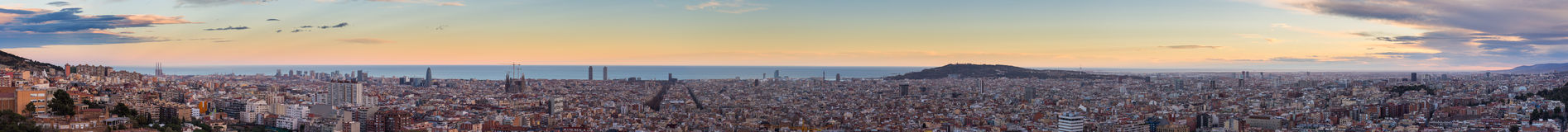 Panorama view of Barcelona from Park Guell in sunny day in winter. High resolution image. Spain Stock Image