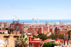 Panorama view of Barcelona, Spain Royalty Free Stock Images