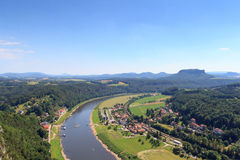 Panorama view from Bastei to river Elbe and table mountain Lilienstein and Rathen, Saxon Switzerland Stock Photography