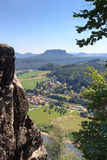 Panorama view from Bastei to river Elbe and table mountain Lilienstein and Rathen, Saxon Switzerland Royalty Free Stock Photo