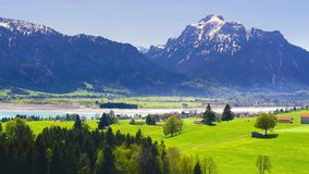 Panorama view in Bavaria to beautiful landscape stock video