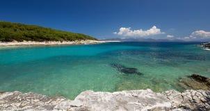 Panorama view of Beach of Foki Fiskardo, Kefalonia, Ionian islands, Greece Stock Photos