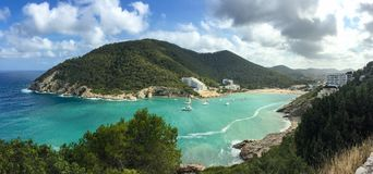 Beautiful Mediterranean sea Cala Llonga bay, Ibiza Island, Spain stock photos