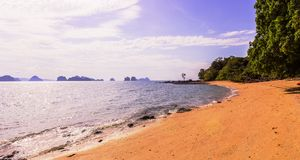 Panorama view of the beautiful and calm beach on shinty day, Yao Noi Islands, Phang Nga province, Thailand