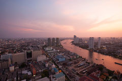 Panorama view beautiful curve of chao phraya river and high buil Stock Photos