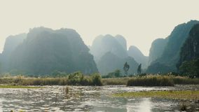 Panorama view of beautiful karst scenery. Wetlands and rice paddy fields at sunset in Tam Coc, Ninh Binh Province, Vietnam stock video footage
