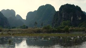 Panorama view of beautiful karst scenery, river and rice paddy fields. At Tam Coc, Ninh Binh Province, Vietnam stock video