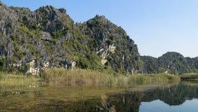 Panorama view of beautiful karst scenery, wetlands stock video footage