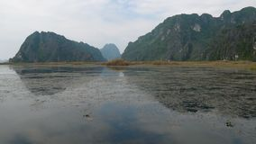 Panorama view of beautiful karst scenery, wetlands. Seen from the boat at Van Long Nature Reserve, Vietnam. Tourists traveling in small boat in tranquil stock video